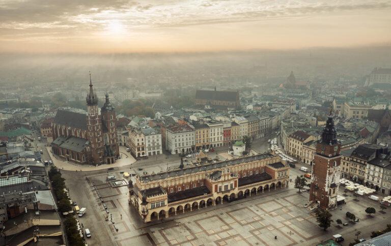 Kraków z lotu ptaka rynek główny