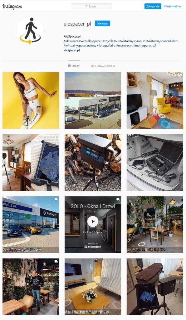 Wirtualny spacer instagram